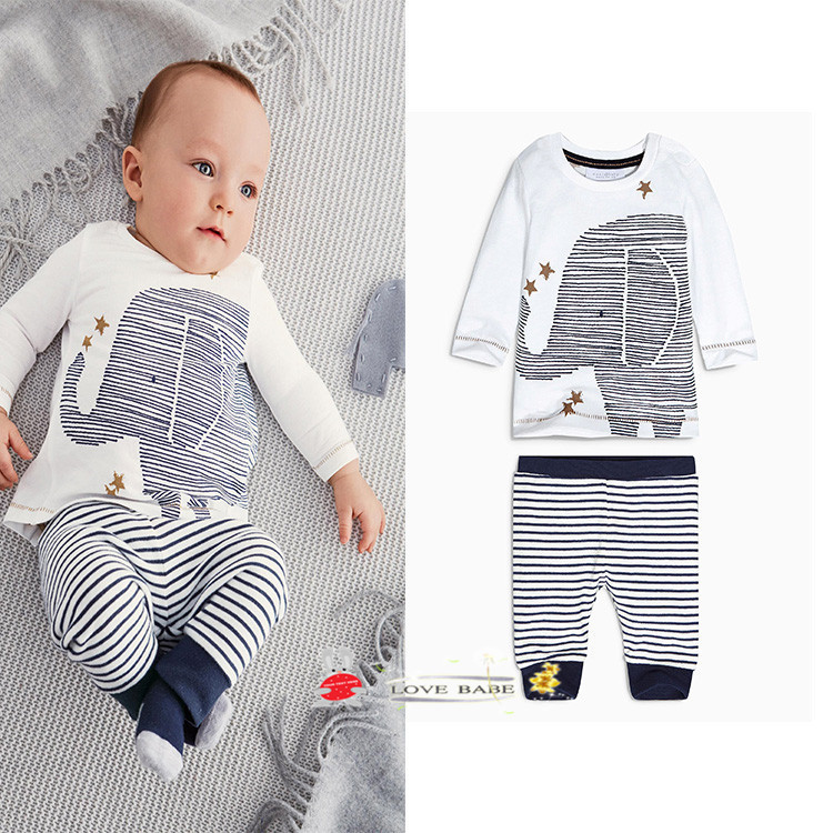 Hot Sale New Spring Baby Boys Set Kids Clothes Cartoon Long Sleeve Pullover T Shirt Navy Striped Pants Casual Boys Clothing Set