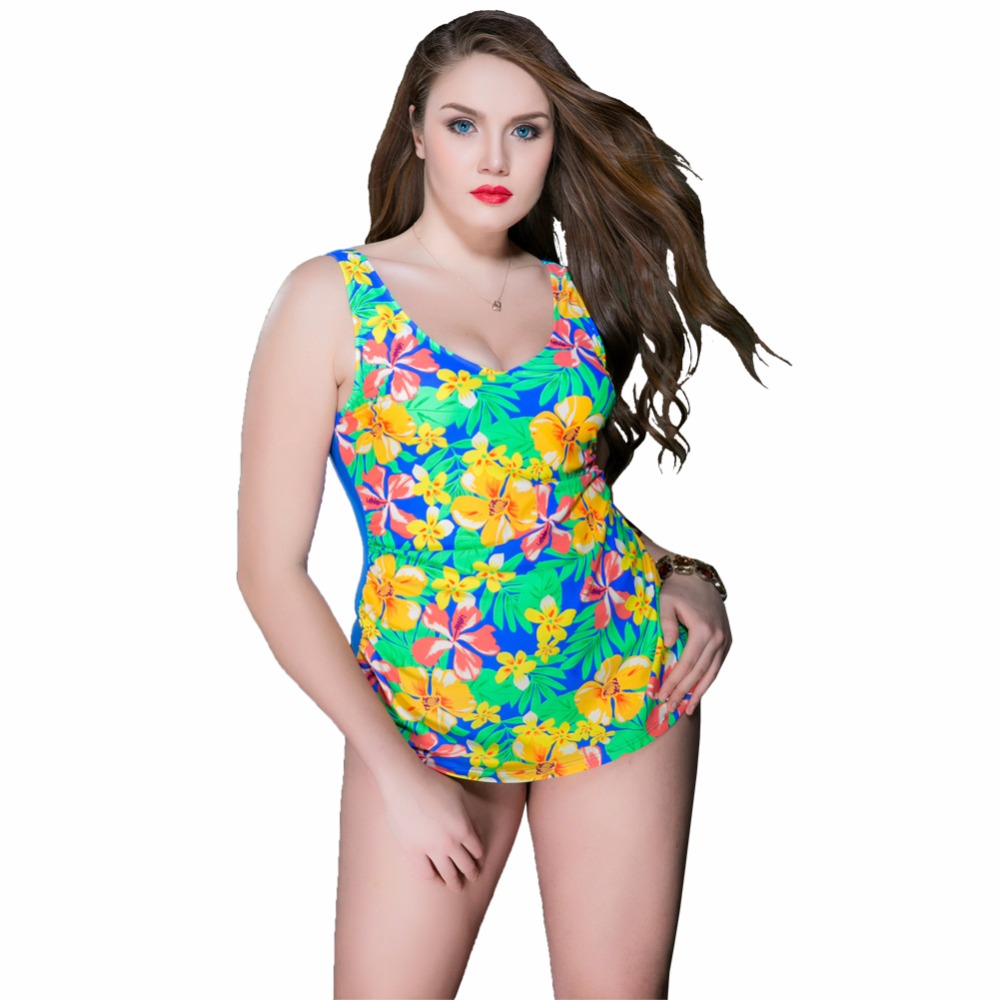 2017 Summer Style Womens Plus Size One Piece Swimsuit Print Swimwear Flora Monokini Women Bathing Suits Large Bust Swimsuits 5XL