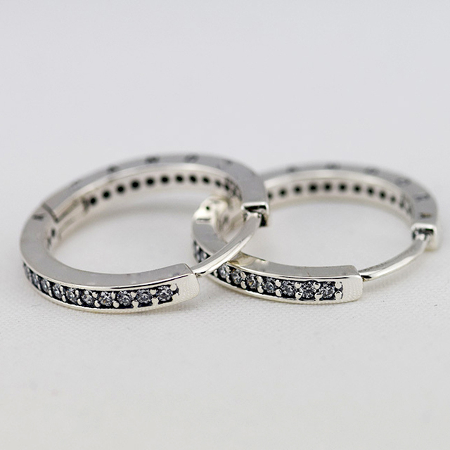 Compatible with Brand 925 Sterling Silver Earrings for Women Fashion Jewelry Round Signature Hoop Earrings with Clear CZ