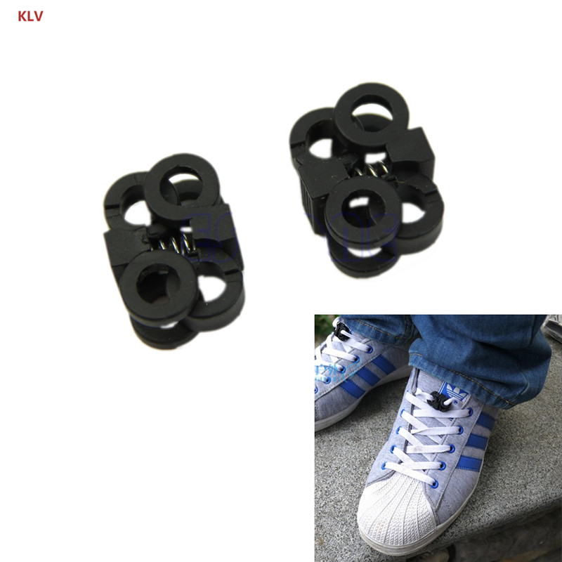 KLV 1 Pair Lace Up Buckle Stopper Locking Drawstring Lock Cross Design Sport Shoe Decoration
