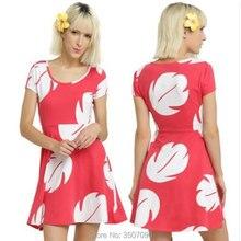 Платье для костюмированной вечеринки с героями мультфильма «Стич ЛиЛо»; Гавайское платье трапециевидной формы для женщин; Vestidos; маскарадный костюм для Хэллоуина; Семейные комплекты