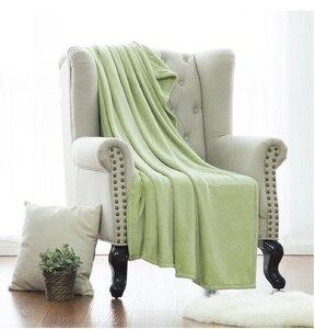 Image 2 - Blanket White Microfiber Fabric Throw Blanket Warm Coral Blankets Travel Flannel Sofa Fleece Blankets For Bed Warm Cobertor
