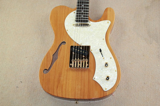 TL Custom -alder semi hollow clear  golden high quality guitar