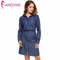 ANGVNS Denim Dress For Women Fashion Clothing Casual Dress 2017 Spring Autumn Black Blue Vestidos Lady