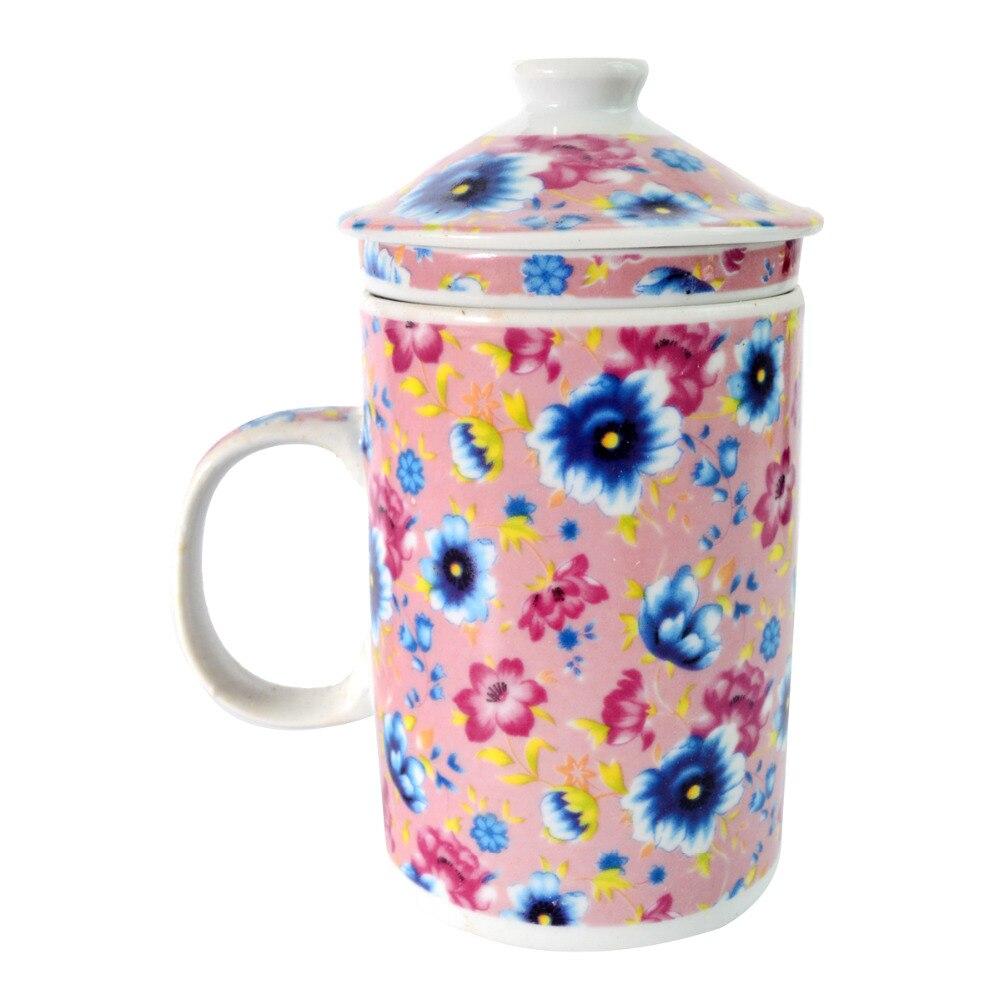 ▽Porcelana traditonal diseño floral con tapa taza de té W infuser ...