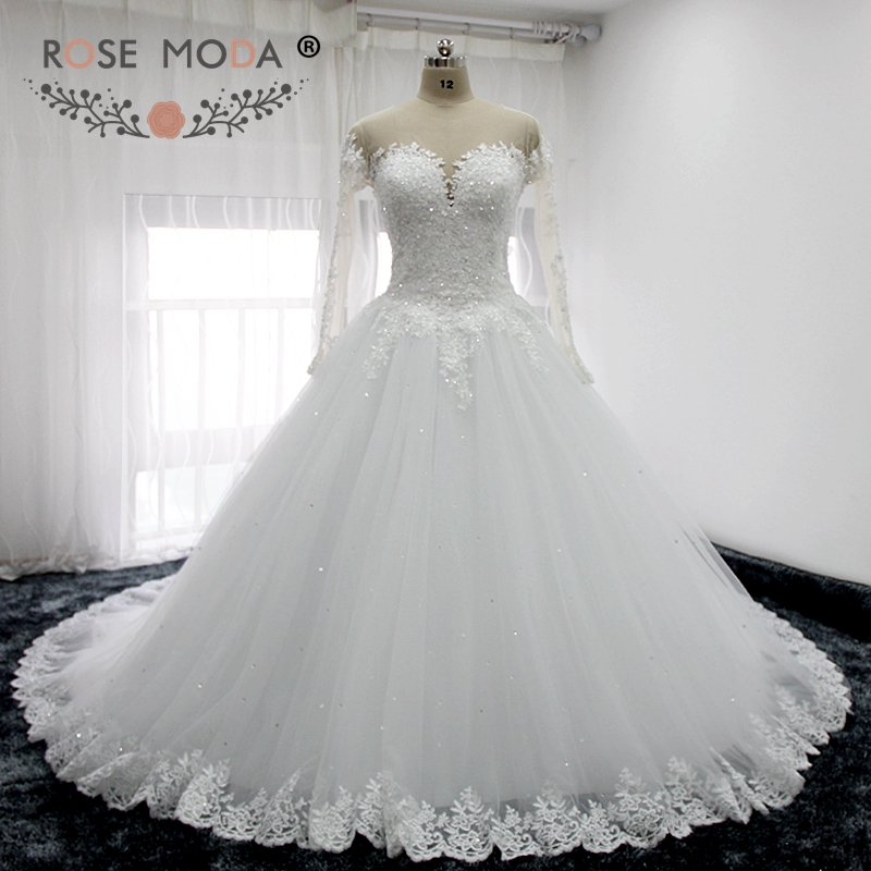 Luxury Illusion Deep Sweetheart collo maniche lunghe pizzo Ball Gown indietro pizzo abito da sposa arabo Royal Train Abiti da Noiva