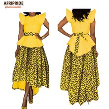 african 2018 spring 2-pieces suit for women AFRIPRIDE flare sleeve o-neck top+lined ankle-length skirt with sashes suit A722666