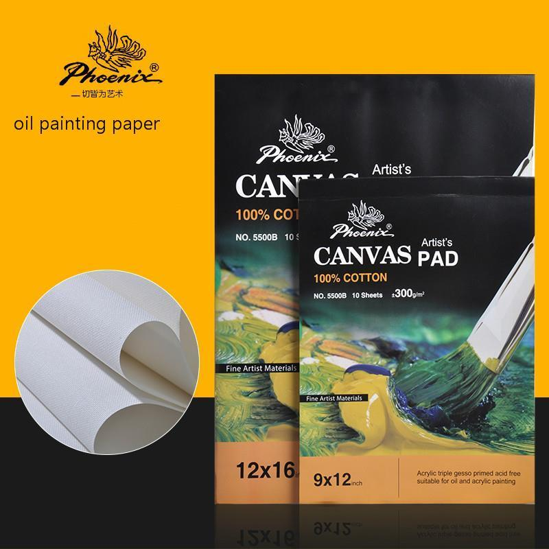Oil Painting Drawing Paper Book Acrylic Pigment 10 Page Sketch Practice Plate 9x12 12x16 Size 100% Cotton Canvas Pad