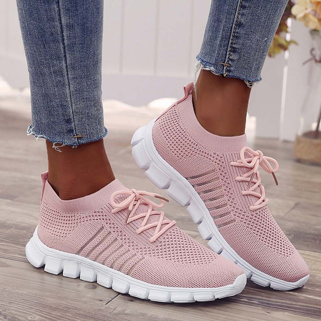 Women's breathable sneakers fashion Flying Weaving Socks Shoes Sneakers Casual Shoes Student Running Shoes sports shoes #39 5