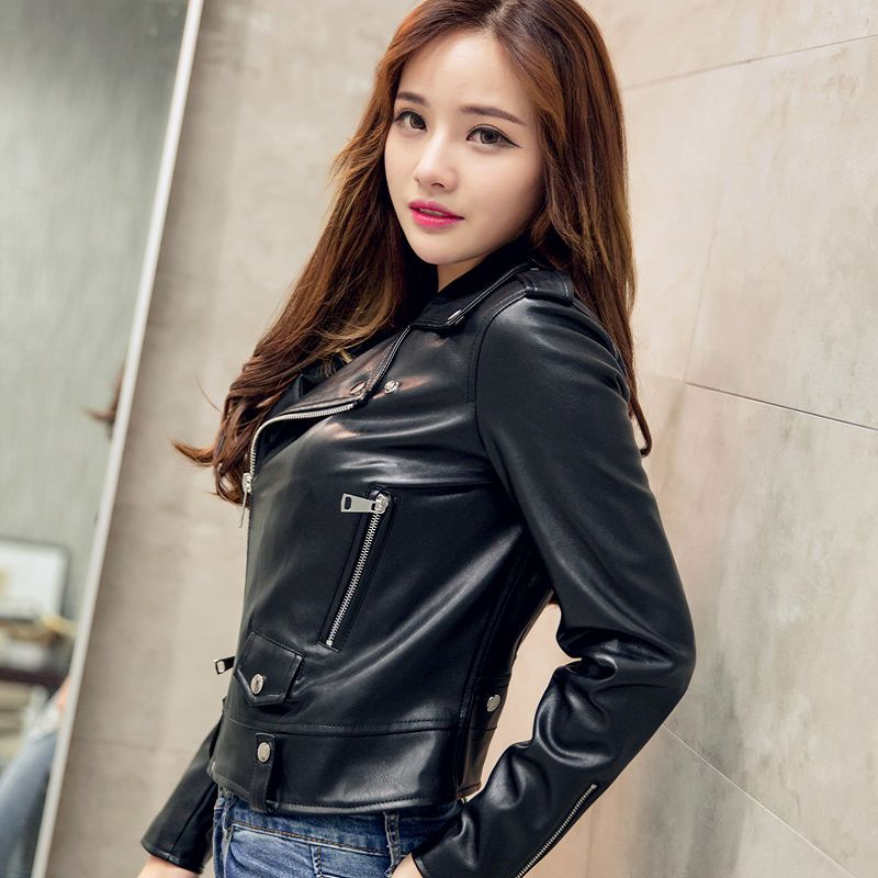 S/Xl Womens Casual Pu   Leather   Jackets Short Section Black Small Spring And Autumn Motorcycle Coats Female Leisure Outwears J1792