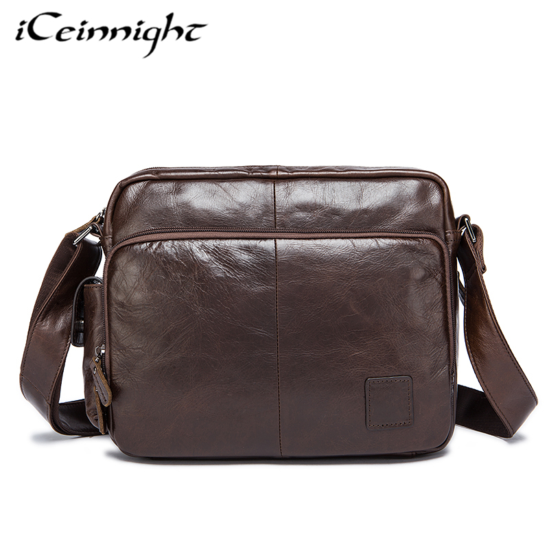iCeinnight Casual Genuine Leather Men Bags Casual Fashion Business Leather Messenger Shoulder Crossbody Bag Famous Brand Men Bag