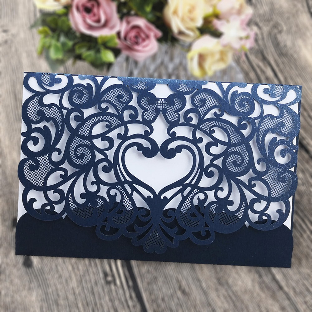 40PCS Lace flowers design party Cards Invitations Universal elegant rustic wedding invitations wedding announcement cards kit