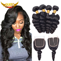 7A Peruvian Loose Wave 3 Bundles With Closure Cheap Human Hair Bundles with Lace Closure Peruvian Virgin Hair With Closure