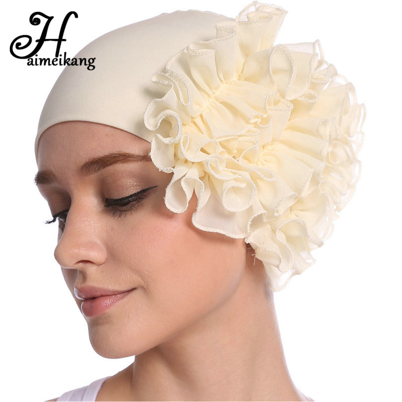 Haimeikang Autumn Winter Turban Hair Bands Indian Hat Chiffon Flower Chemo Cap Headwrap Lady Elastic Headbands Hair Accessories