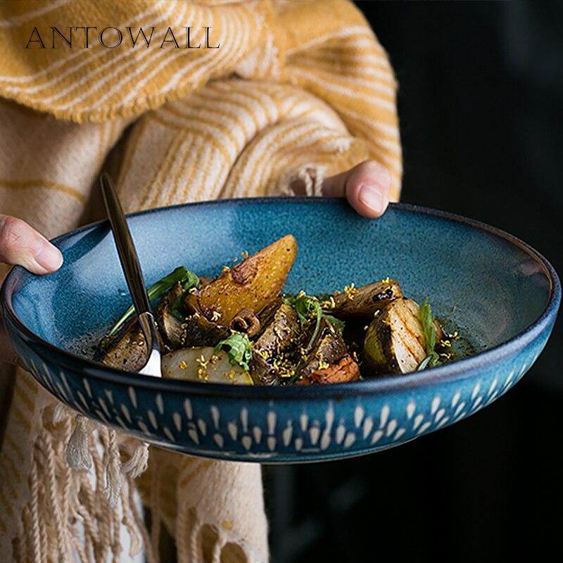ANTOWALL Style européen bleu vaisselle soupe plat bouche peu profonde bassin four glaçure goutte de pluie motif grande assiette à soupe domestique