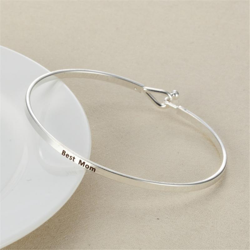 New Engraved Positive Inspirational Quote Hand Stamped Cuff Bracelet Bangle For Women Best Gifts Fashion Open Bangle