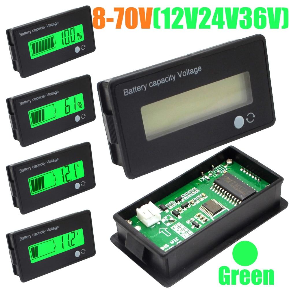 5pcs 12V 24V 36V 48V LCD Acid Lead Lithium Battery Capacity Indicator Digital Voltmeter Voltage Tester