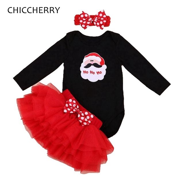 ad9f9a8104a9 Red Christmas Santa Claus Long Sleeve Baby Girl Christmas Outfit Bodysuit  Lace Tutu Skirt Headband Girls Clothes Infant Clothing