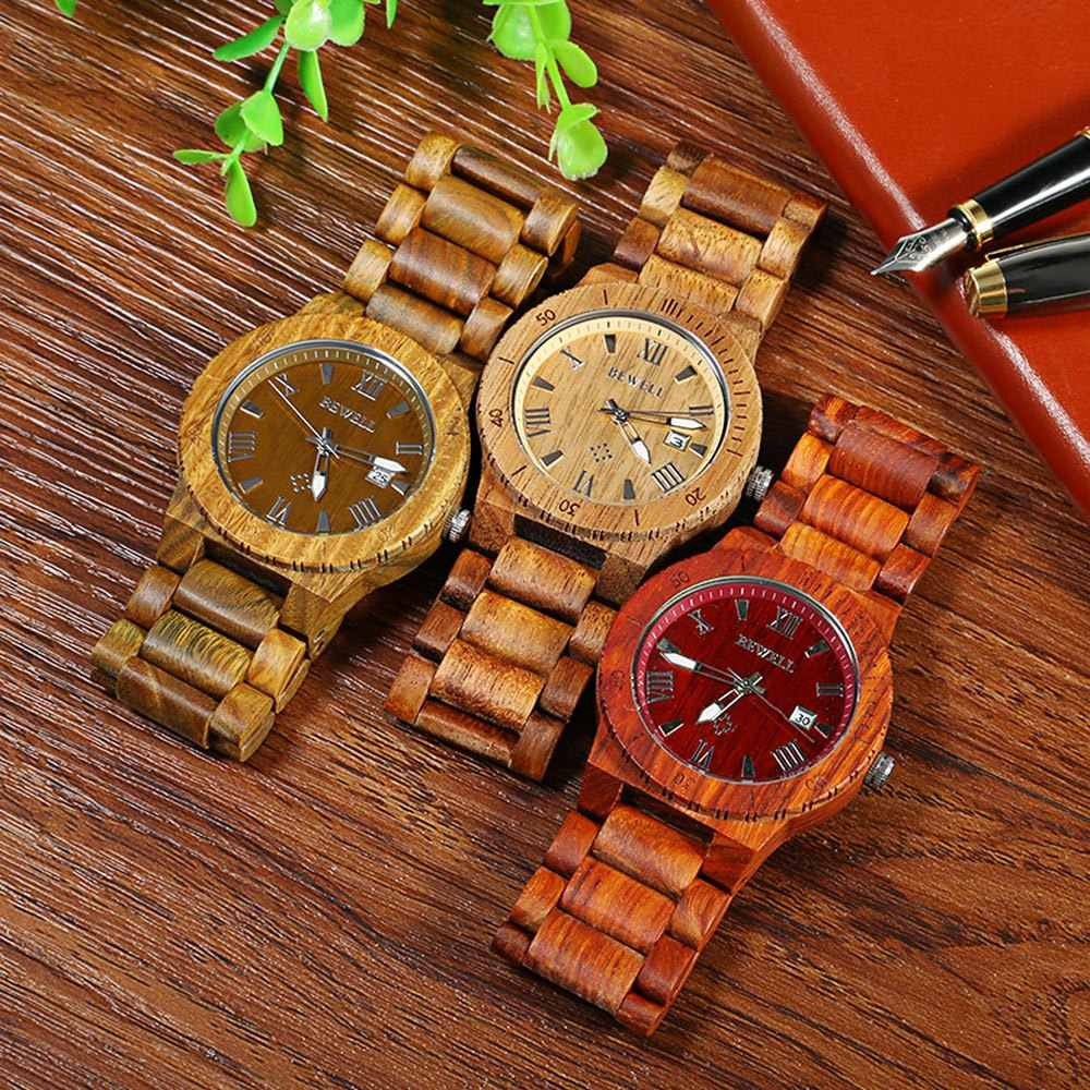 Reloj de madera a prueba de agua elegante Bewell relojes de cuarzo a la moda para hombre, reloj de pulsera de madera con puntero luminoso