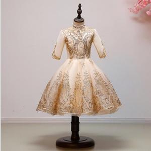 Платье из тюля с золотыми блестками для девочек, платье с длинными рукавами и цветочным узором для девочек на свадьбу, карнавальный костюм, ...