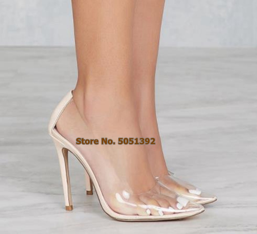 Clear PVC Transparent Pumps Sandals High Thin Heel Stilettos Point Toe Women Party Shoes Sexy Nightclub