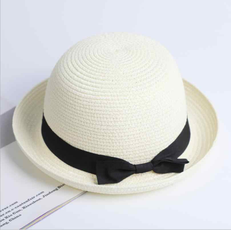 764042ba8ddef3 ... Lady Boater sun caps Ribbon Round Flat Top Straw Fedora Panama Hat  summer hats for women ...