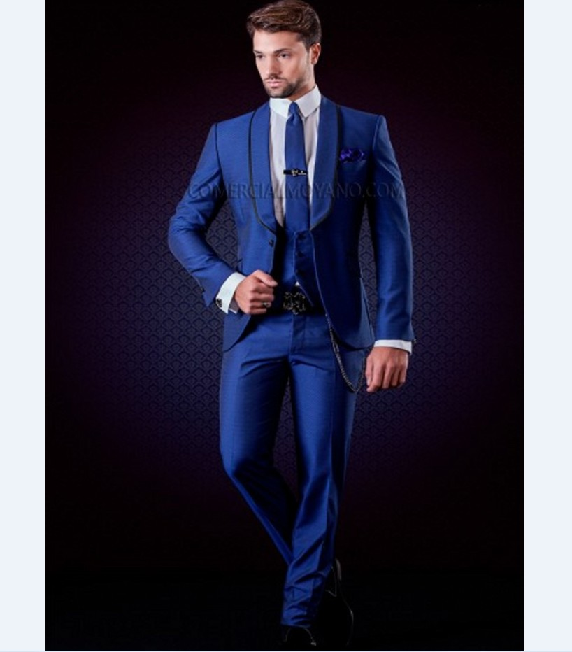 Brand New Groomsmen Shawl Lapel Groom Tuxedos Royal Blue