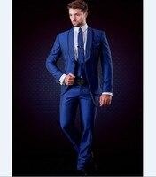 Brand New Groomsmen Shawl Lapel Groom Tuxedos Royal Blue Men Suits Wedding Best Man Blazer (Jacket+Pants+Tie+Vest) B958