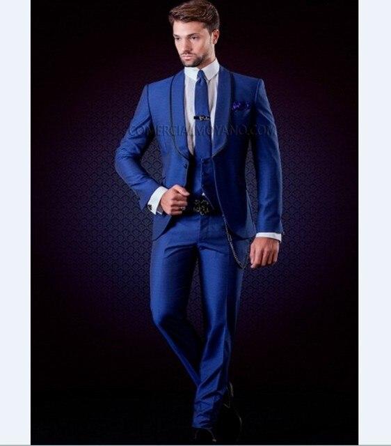Nova marca Xaile Lapela Do Noivo Smoking Padrinhos Homens Ternos de Casamento Melhor Homem Blazer Azul Royal (Jacket + Pants + Tie + Vest) B958
