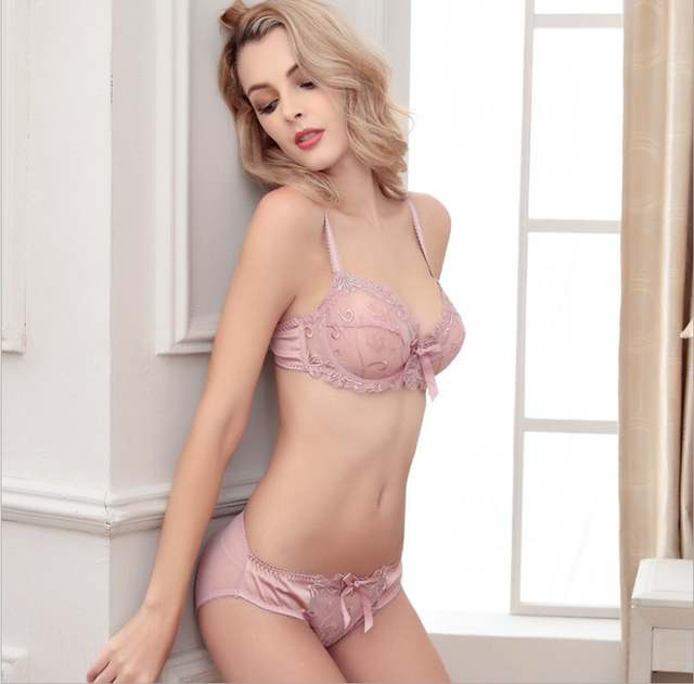 53a732632b34d Hot 2017 Free Shipping Fashion transparent sexy bra set plus size Women  gauze embroidery ultra-
