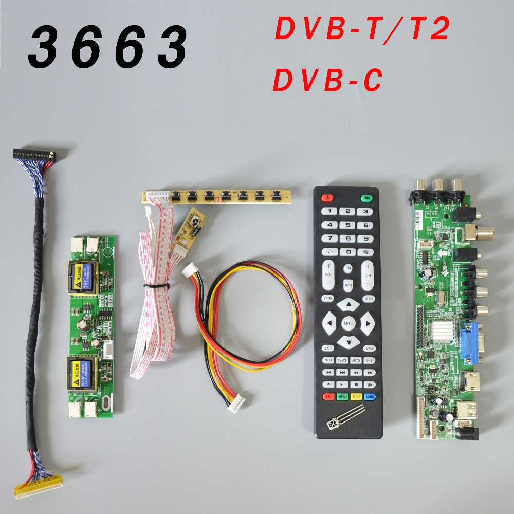 DS.D3663LUA.A81.2.PA  V56 V59 Universal LCD Driver Board Support DVB-T2 TV Board+7 Key Switch+IR+4 Lamp Inverter+LVDS 3663