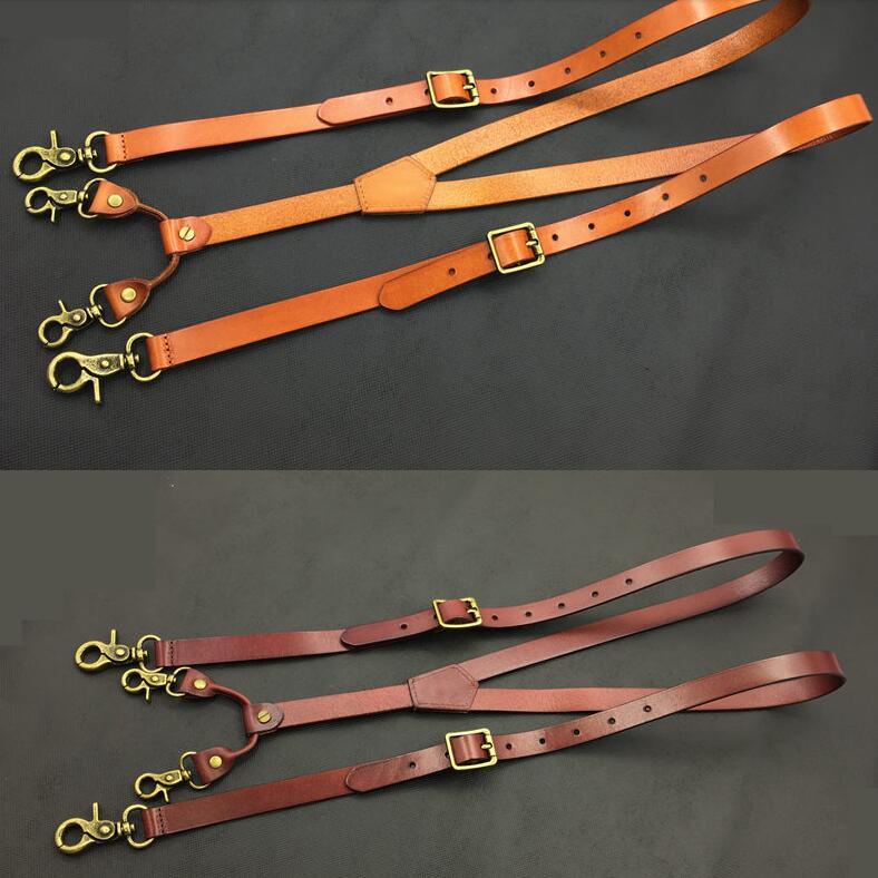 Genuine Leather Suspenders Men 1.9cm Width 132cm Long Hook Suspenders