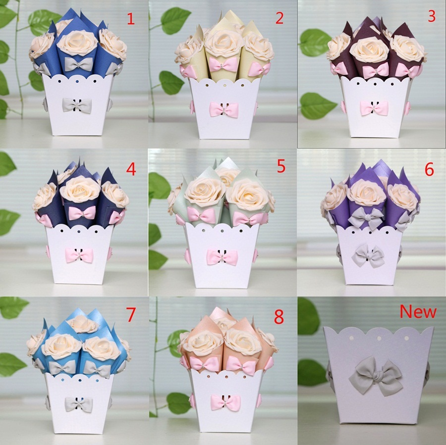 3 Sets European Wedding Favor Flower Pot Bowknot Rose Ice Cream Cone Chocolates Candy Bo Gift 8 Colors On Aliexpress Alibaba Group