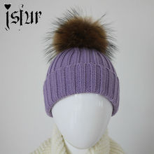 Brand New 2015 Winter 14 Colors Wool Blend Baby Boys Hats and Caps with Real Raccoon Fur Pom Poms Warm Kids Hat for Girl
