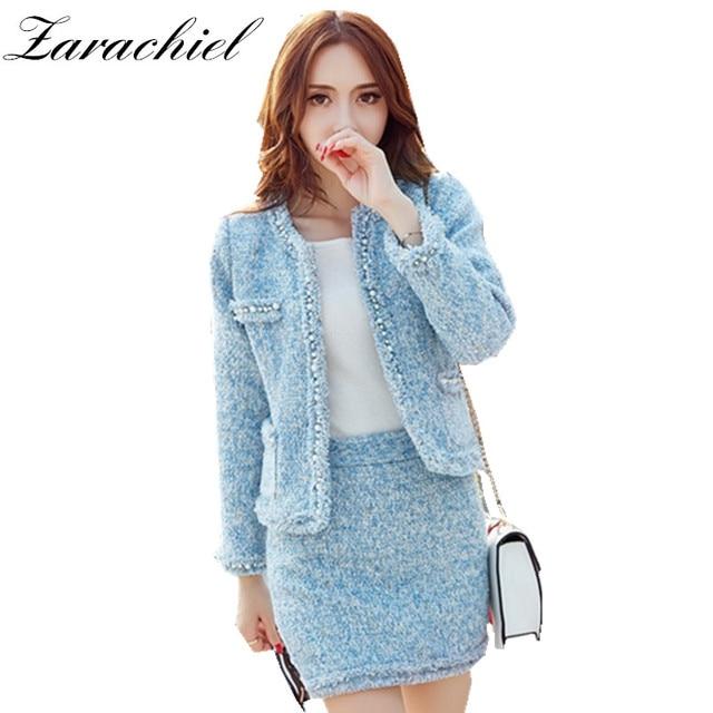e03307e46d34 Zarachiel Ciel costume bleu Pour Les Femmes Perles Tweed Veste Courte  manteau de laine + Moulante