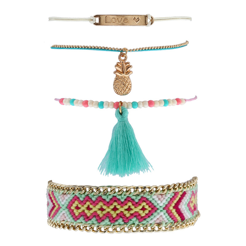 ZG 4Pcs/Set Fashion Tassel Bracelet For Women Girl Pretty Pink Style Female Charm Bracelet Set Statement Jewelry