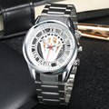 2016 New Casual Silver Skeleton Design Watch Men Luxury Rhinestone Dial Mens Quartz Wrist Watches Famous Brand Full Steel Band