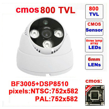 Free shipping real security camera system security cmos 800 tvl cctv camera three lamps array infrared dome indoor z80c wide angle 700 tvl 24pcs ir led color indoor dome cctv security camera cmos security camera 700tvl for dvr system