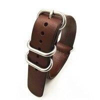 1PCS High Quality 22MM Nato Strap Genuine Leather Dark Coffee Color Watch Band NATO Straps Zulu