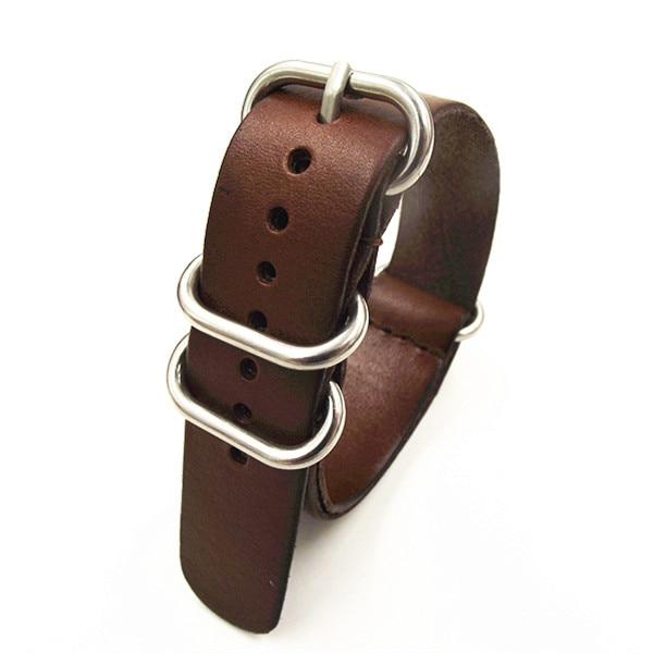 1PCS High quality 18MM 20MM 22MM Nato strap genuine leather dark coffee color Watch band NATO straps zulu strap watch strap-0918