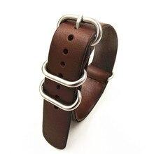 1 PCS haute qualité 18 MM 20 MM 22 MM otan sangle en cuir véritable café noir couleur bande de montre otan sangles zulu bracelet strap-0918