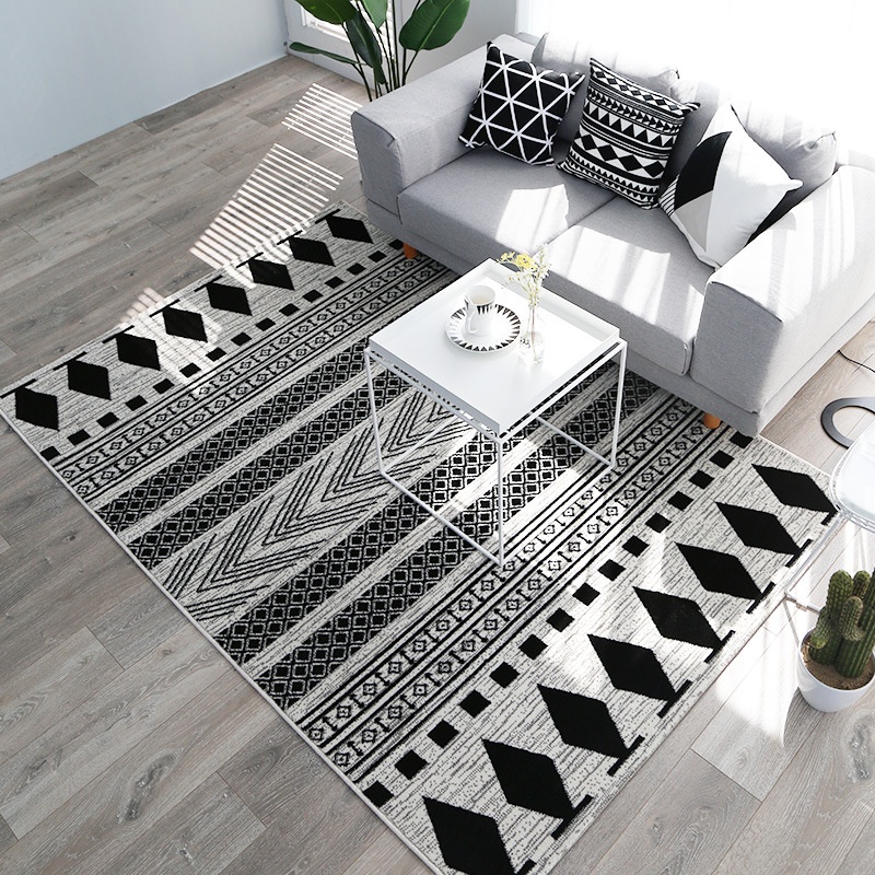 Kilim noir blanc 100% polypropylène salon tapis géométrique maroc tapis pour chambre rayure tapis Design moderne bohême Style
