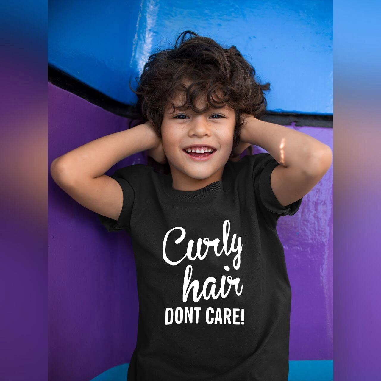 Kid Funny Shirt Curly Hair Don't Care Toddler Kids Girl Boys Print Tshirt Casual Children Short Sleeve T Shirt Streetwear