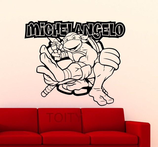 Michelangelo wall sticker turtles mutant ninja vinyl decal home interior nursery decoration movie poster art mural