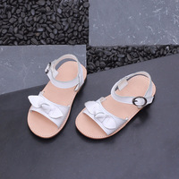 Sandals Girl Bow Child Sandals Princess Shoes Sweet Peep Toe Summer Baby Pink Baby Boy Leather Sandals 21 30