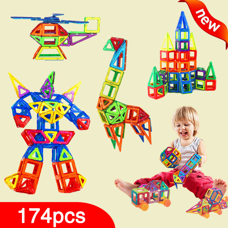 New 174pcs Mini Magnetic Designer Construction Set Model & Building Toy Plastic Magnetic Blocks Educational Toys For Kids Gift telecool magnetic building blocks toys mini 80 100 pcs diy set inspire kids educational construction designer toy