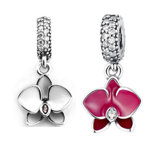 Beads for Jewelry Making 100% 925 Sterling Silver Orchid Charm White Enamel, Clear & CZ Fit Charms Bracelets Diy PF576