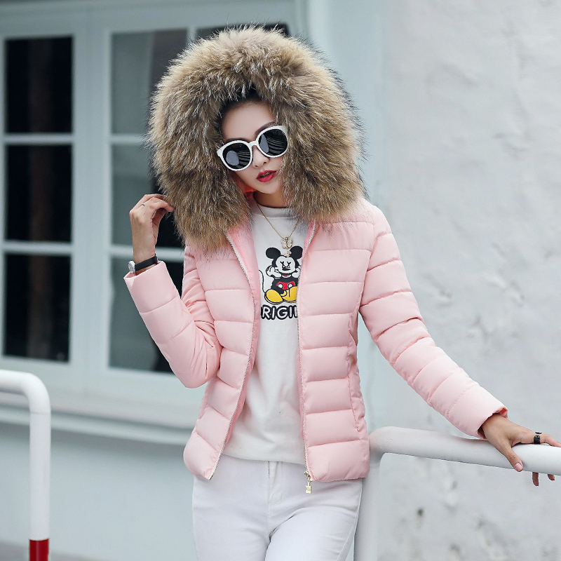 Plus Size 3XL 4XL Female Coat Autumn With Fur Collar Hooded Cotton Padded Winter Jacket Women Short Outwear Basic Jacket  2