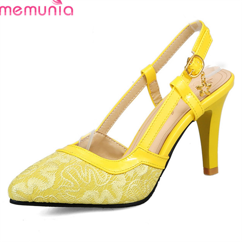 MEMUNIA 2018 hot sale women pumps elegant lace summer shoes sexy pointed toe fashion party wedding shoes 9cm high heel shoes ms noki elegant silver new 2017 thin heel pointed toe women shoes sexy party dress fashion shoes comfortable sweet shoes hot