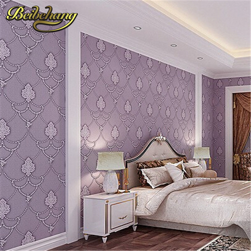 ФОТО beibehang Non Woven Embosed Flocking Wall Paper Europea 3d Floral Pattern Damask Wall covering Minimalist Modern Style Wallpaper